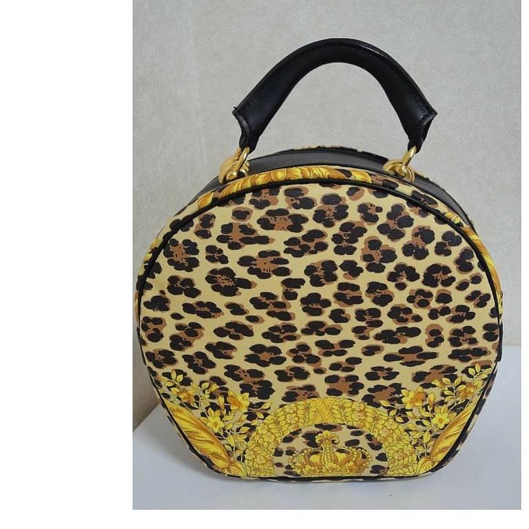 MINT. Vintage Gianni Versace leopard and gorgeous print round bag with strap. 2