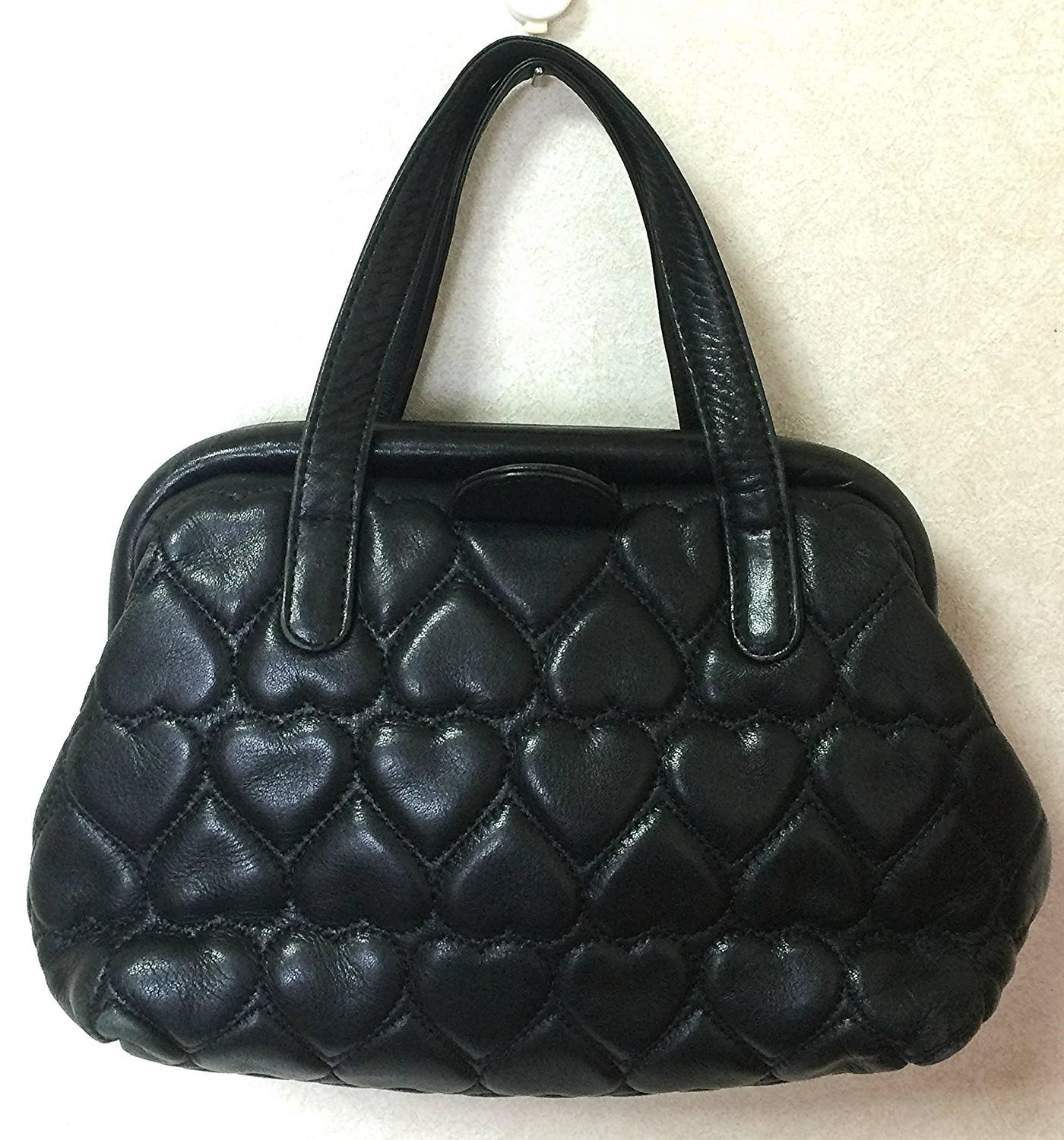 Vintage Moschino Black Heart Shape Quilted Lambskin Mini Handbag Tote Purse For Sale