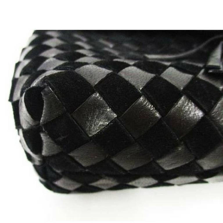 Black Vintage Bally black woven intrecciato design leather clutch purse, pouch. For Sale