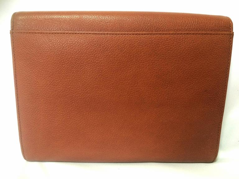 Vintage Yves Saint Laurent genuine brown leather clutch purse with beak tip flap 2
