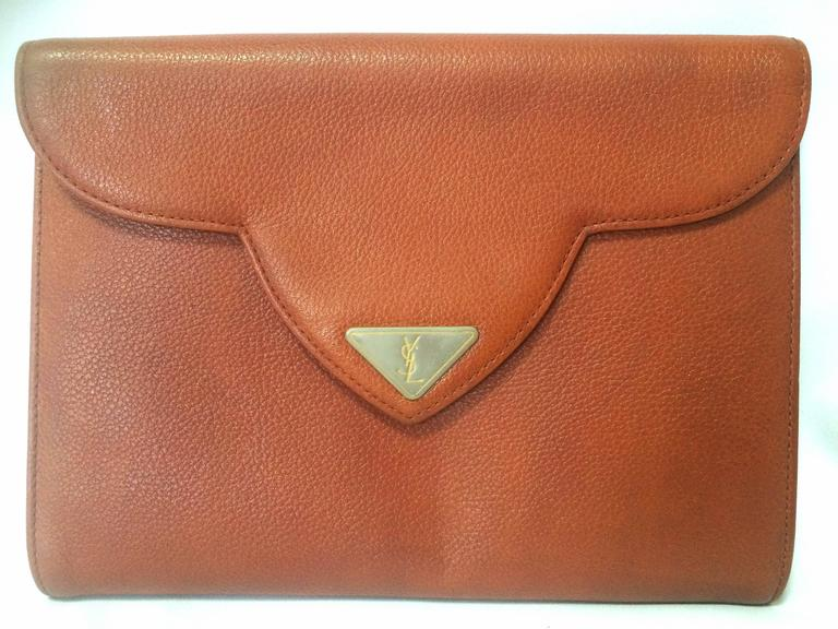 Vintage Yves Saint Laurent genuine brown leather clutch purse with beak tip flap 8
