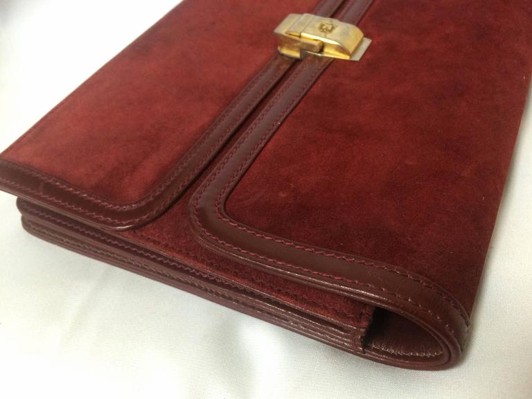 Vintage BALLY genuine wine suede leather clutch bag, mini purse with golden logo For Sale 3