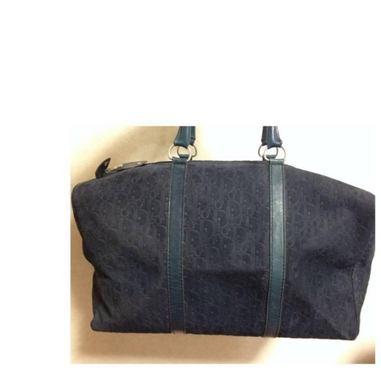 Vintage Christian Dior Bagages navy genuine suede leather travel duffle bag 3