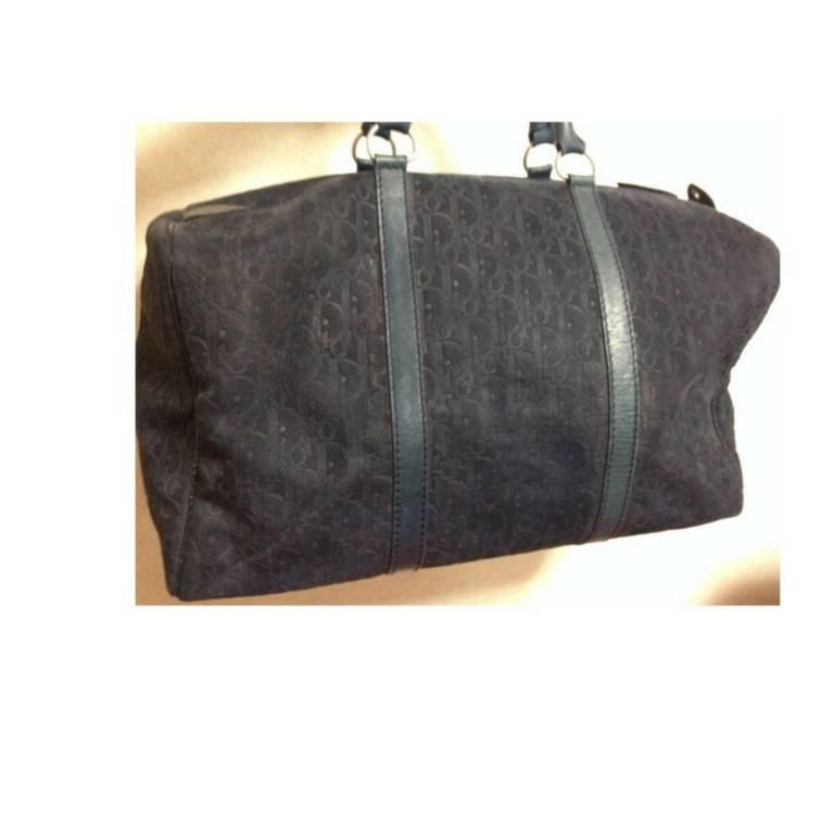 Vintage Christian Dior Bagages navy genuine suede leather travel duffle bag 4