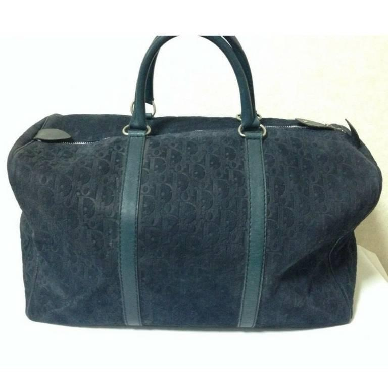 Vintage Christian Dior Bagages navy genuine suede leather travel duffle bag 2