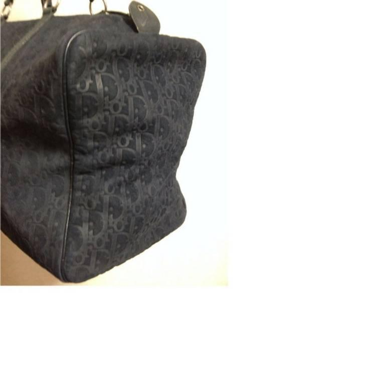 Vintage Christian Dior Bagages navy genuine suede leather travel duffle bag 8