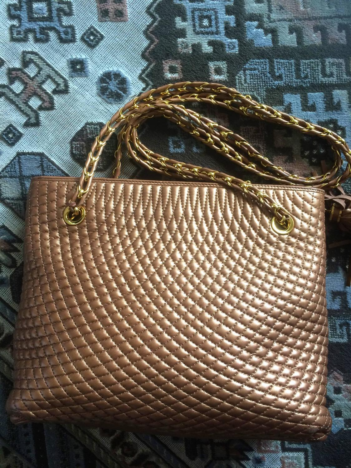 Vintage Bally Bronze Brown Quilted Leather Shoulder Tote