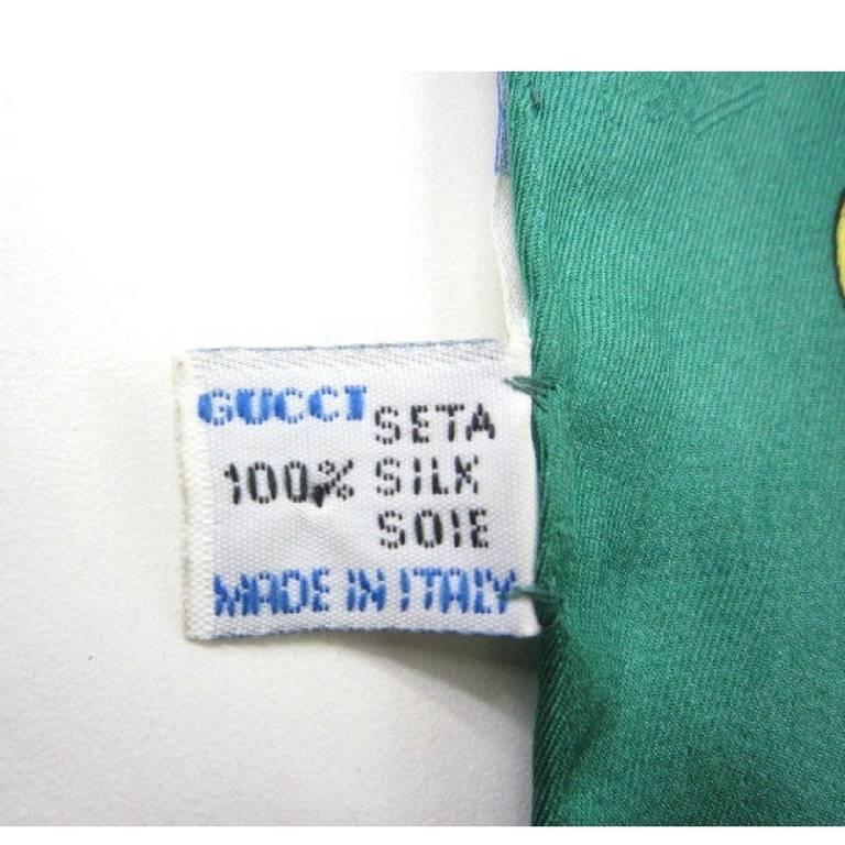 Blue Vintage Gucci classic green red and navy with GG motif print silk scarf.  For Sale