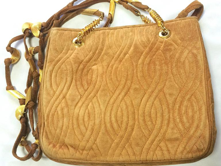Fendi Vintage Fendi Tanned Brown Suede Bag With Twist Rope Stitch Design, Long Straps