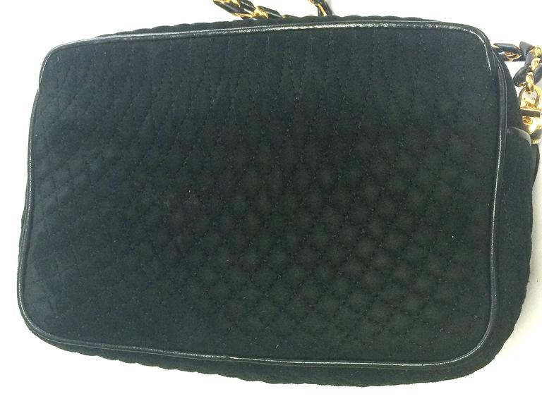 Vintage BALLY genuine black suede quilted shoulder camera bag with ... : bally quilted bag - Adamdwight.com