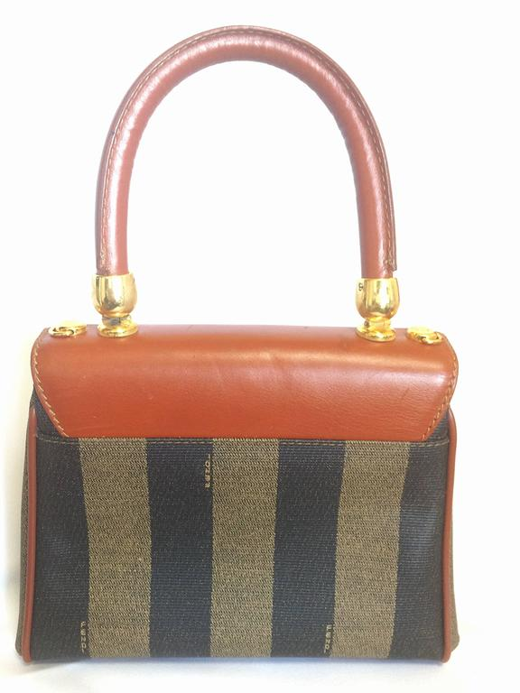 2ac41e9bd5 ... new style vintage fendi kelly bag style mini handbag in classic pecan  stripes and brown leather ...