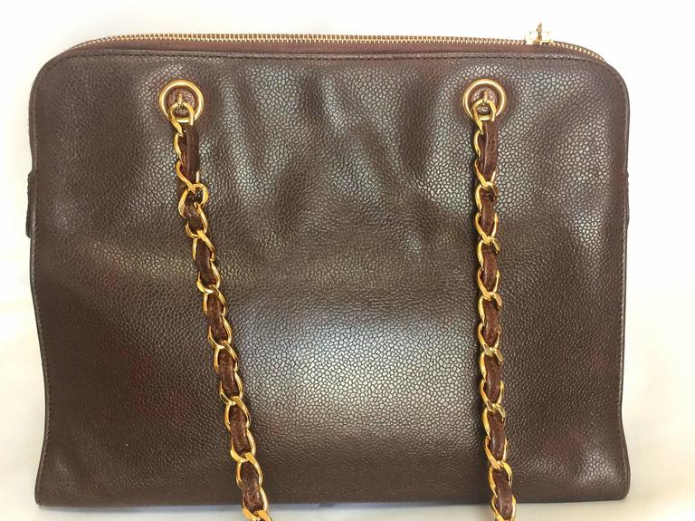 Black Vintage CHANEL dark brown caviar leather chain shoulder tote bag with golden CC. For Sale