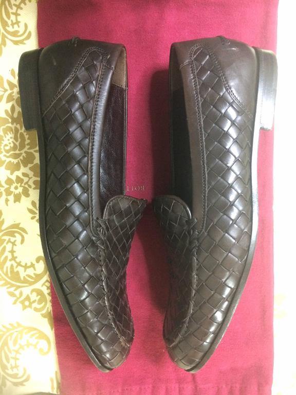 MINT. Vintage Bottega Veneta classic dark brown intrecciato leather shoes. EU38 3