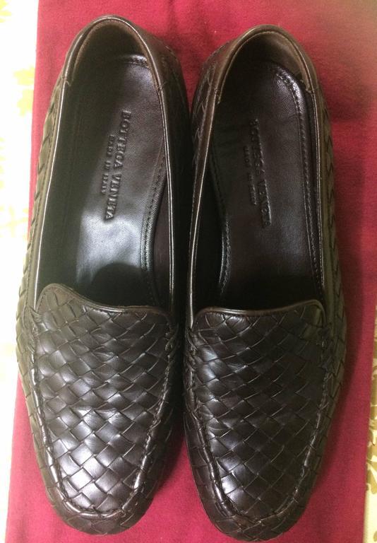 MINT. Vintage Bottega Veneta classic dark brown intrecciato leather shoes. EU38 8