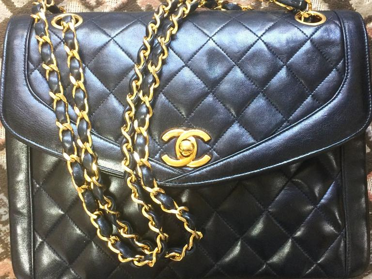 Black Vintage Chanel black lambskin chain shoulder 2.55 shoulder bag, pentagon flap For Sale
