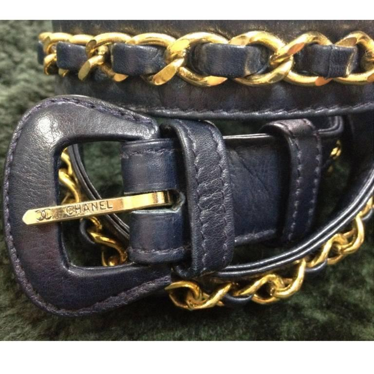 "Vintage CHANEL navy leather belt with gold tone chains. 69~75,27"" through 29.5"" 3"