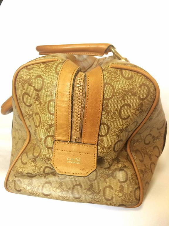 Women's or Men's Vintage Celine classic brown macadam blason handbag, speedy design. unisex use. For Sale