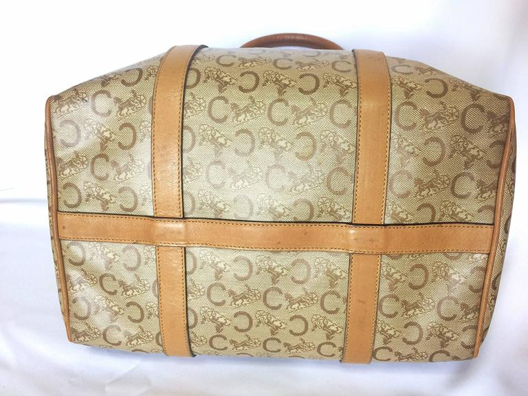Vintage Celine classic brown macadam blason handbag, speedy design. unisex use. For Sale 3