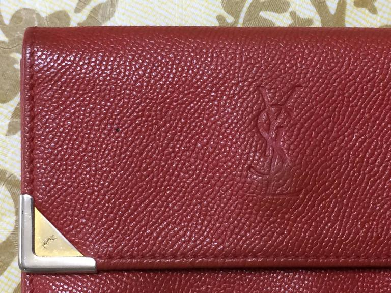 Vintage Yves Saint Laurent Red Leather Wallet With Ysl