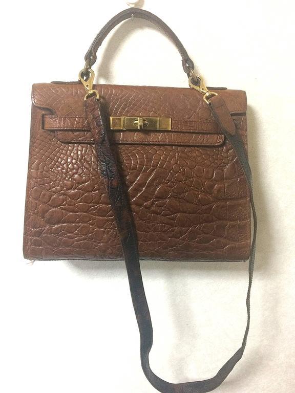 Mulberry Vintage Mulberry Croc Embossed Brown Kelly Bag With Shoulder Strap. Roger Saul H995uf3U8A