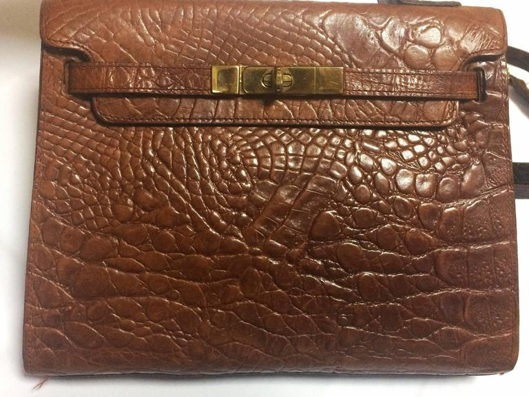 Mulberry Vintage Mulberry Croc Embossed Leather Kelly Bag With Shoulder Strap. Roger Saul 6afS9g