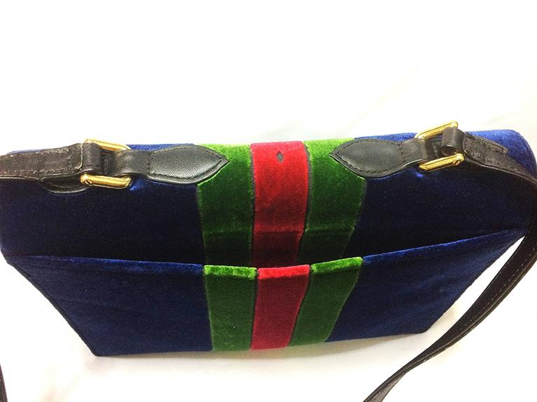 Vintage Roberta di Camerino red, navy, and green ribbon velvet shoulder bag. For Sale 1