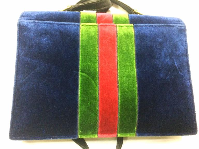 Black Vintage Roberta di Camerino red, navy, and green ribbon velvet shoulder bag. For Sale