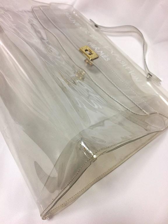 Vintage Hermes A Rare Transparent Clear Vinyl Kelly Bag