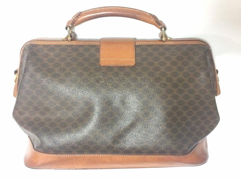 Vintage Celine brown macadam blaison doctor bag with brown leather trimmings. 3