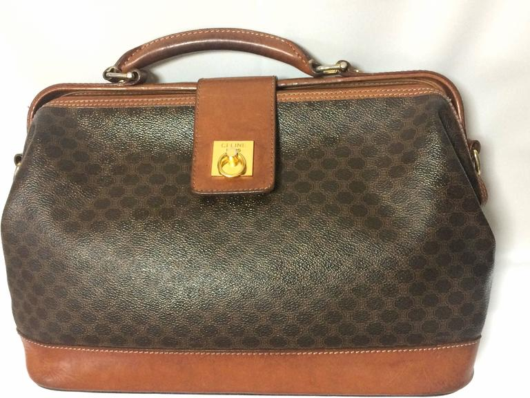 Vintage Celine brown macadam blaison doctor bag with brown leather trimmings. 2