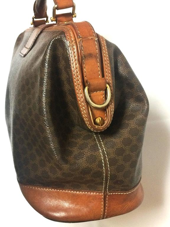 Vintage Celine brown macadam blaison doctor bag with brown leather trimmings. 5