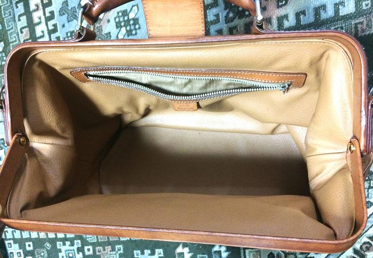 Vintage Celine brown macadam blaison doctor bag with brown leather trimmings. 8