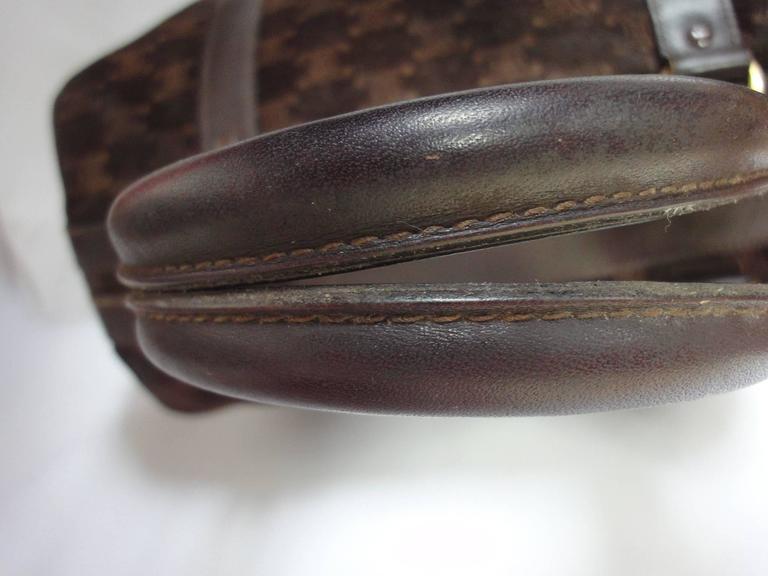 Vintage Celine genuine dark brown suede leather mini duffle, speedy type handbag For Sale 3