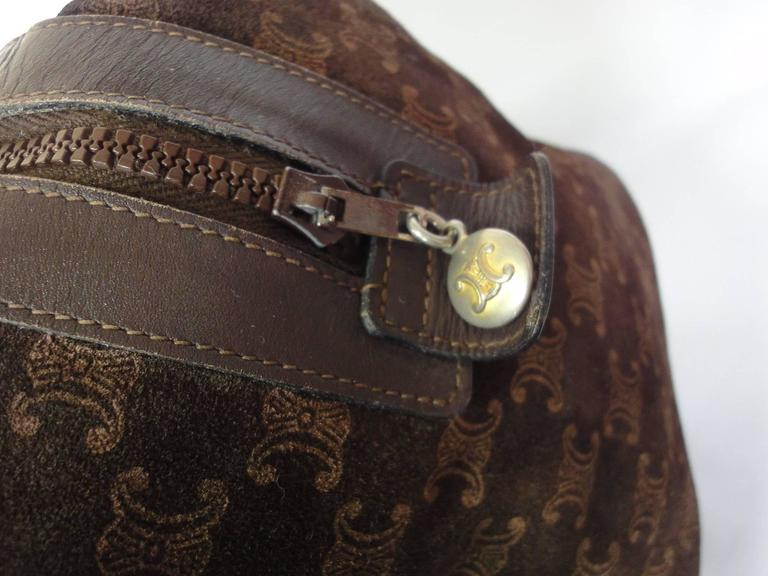 Vintage Celine genuine dark brown suede leather mini duffle, speedy type handbag For Sale 1