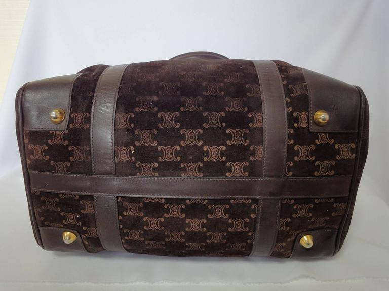 Vintage Celine genuine dark brown suede leather mini duffle, speedy type handbag For Sale 2