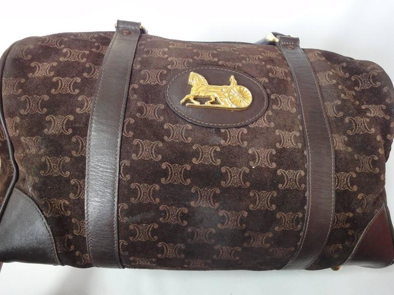Black Vintage Celine genuine dark brown suede leather mini duffle, speedy type handbag For Sale