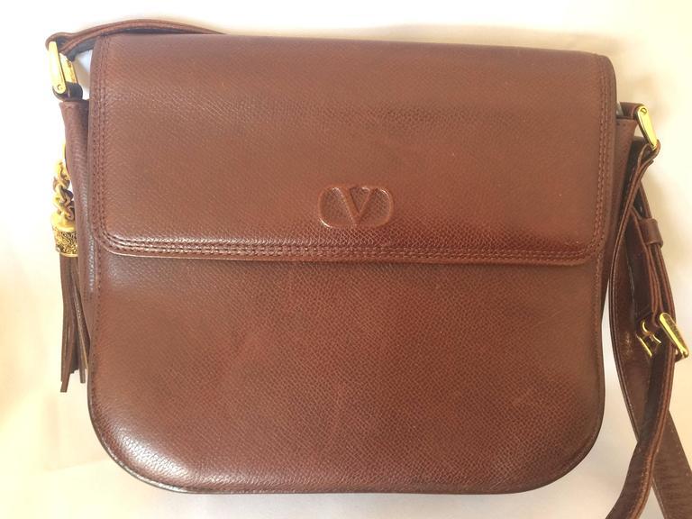 Vintage Valentino Garavani Dark Brown Leather Shoulder Bag
