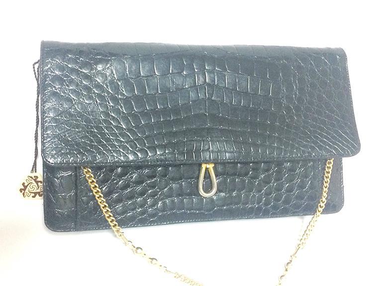 Vintage BALLY genuine black crocodile chain clutch, shoulder bag ...