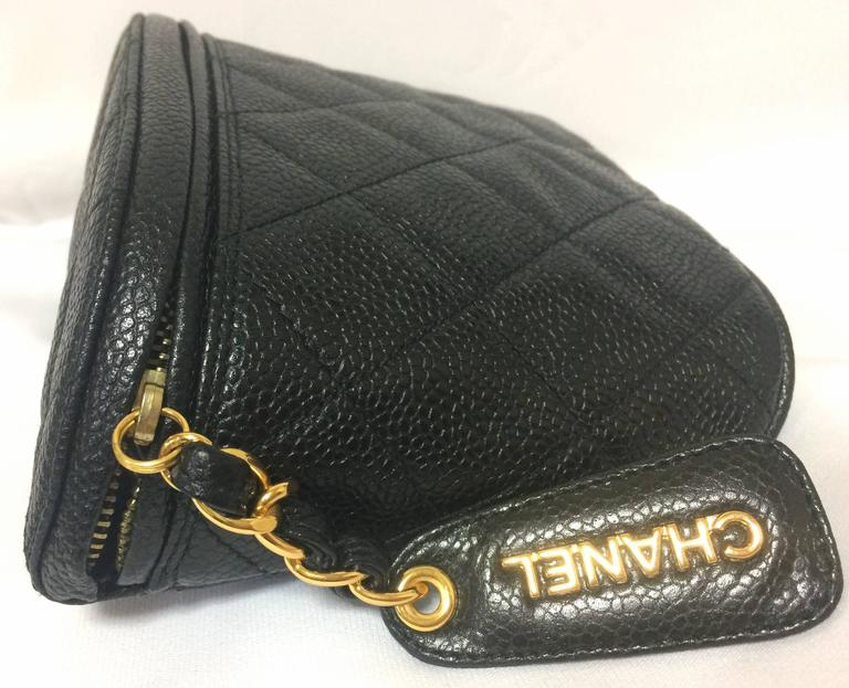 Women's or Men's MINT. Vintage CHANEL black caviar leather purse pouch. Can be waist bag. For Sale