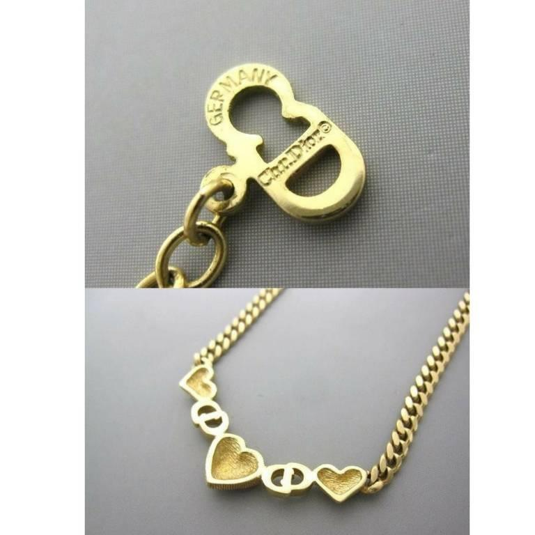 Vintage Christian Dior logo and heart motif, golden chain statement necklace. 3