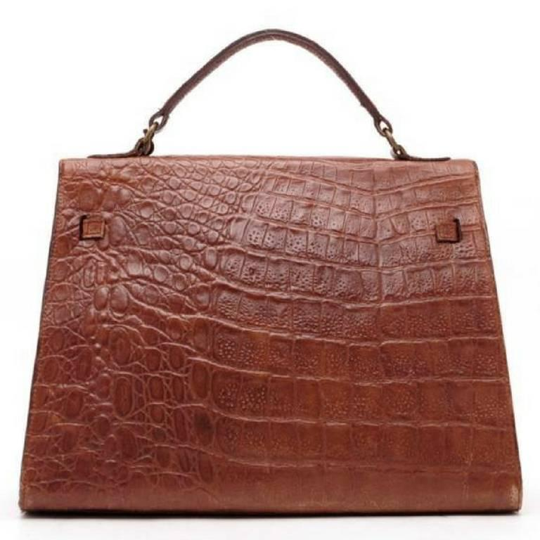 Mulberry Vintage Mulberry Croc Embossed Leather Kelly Bag With Shoulder Strap. Roger Saul KegmLrJKh