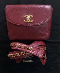 Vintage CHANEL wine leather waist purse, fanny bag with golden chain belt.