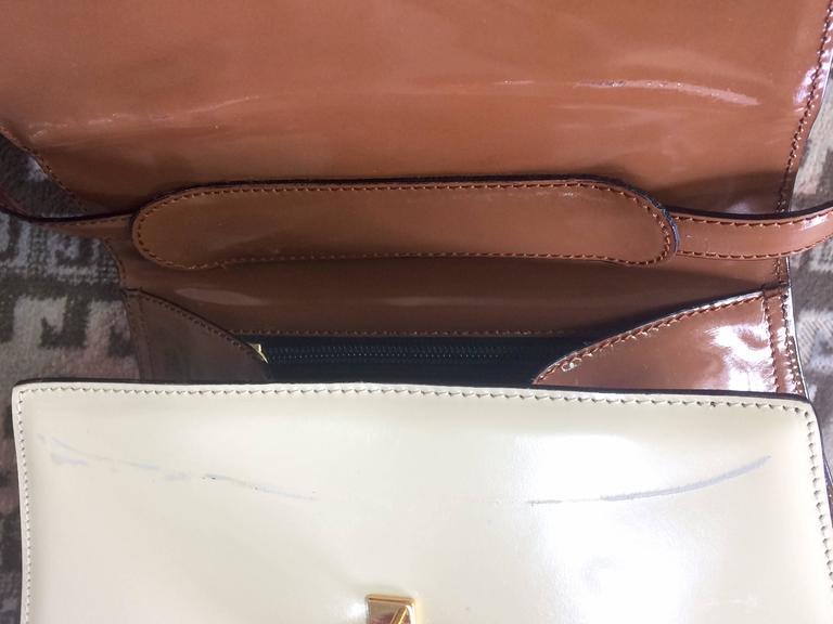 Vintage MOSCHINO white, black, brown patent enamel bag with heart motif. RedWall 6
