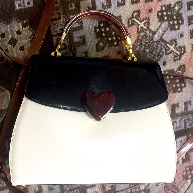 White Vintage MOSCHINO white, black, brown patent enamel bag with heart motif. RedWall For Sale