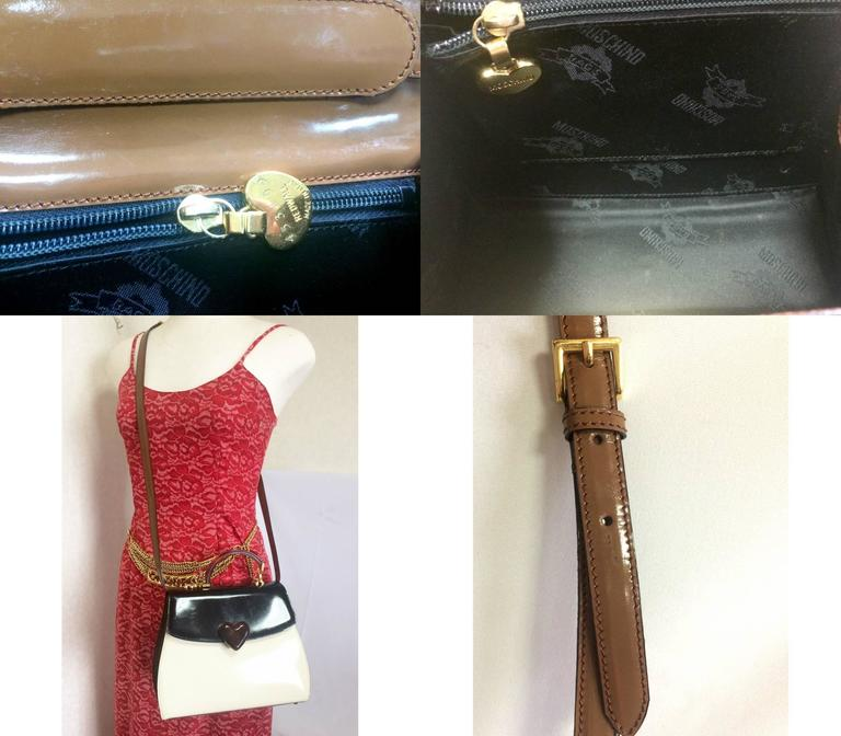 Vintage MOSCHINO white, black, brown patent enamel bag with heart motif. RedWall 10