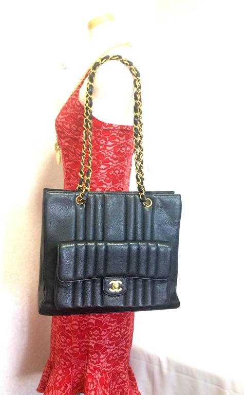 Vintage CHANEL rare 2.55 combo design black caviar leather chain shoulder bag. For Sale 5