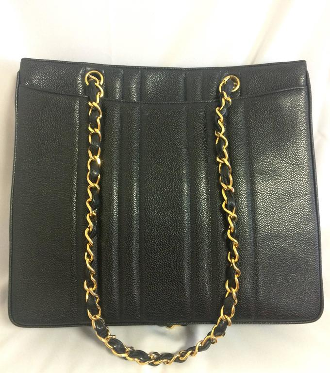 Black Vintage CHANEL rare 2.55 combo design black caviar leather chain shoulder bag. For Sale