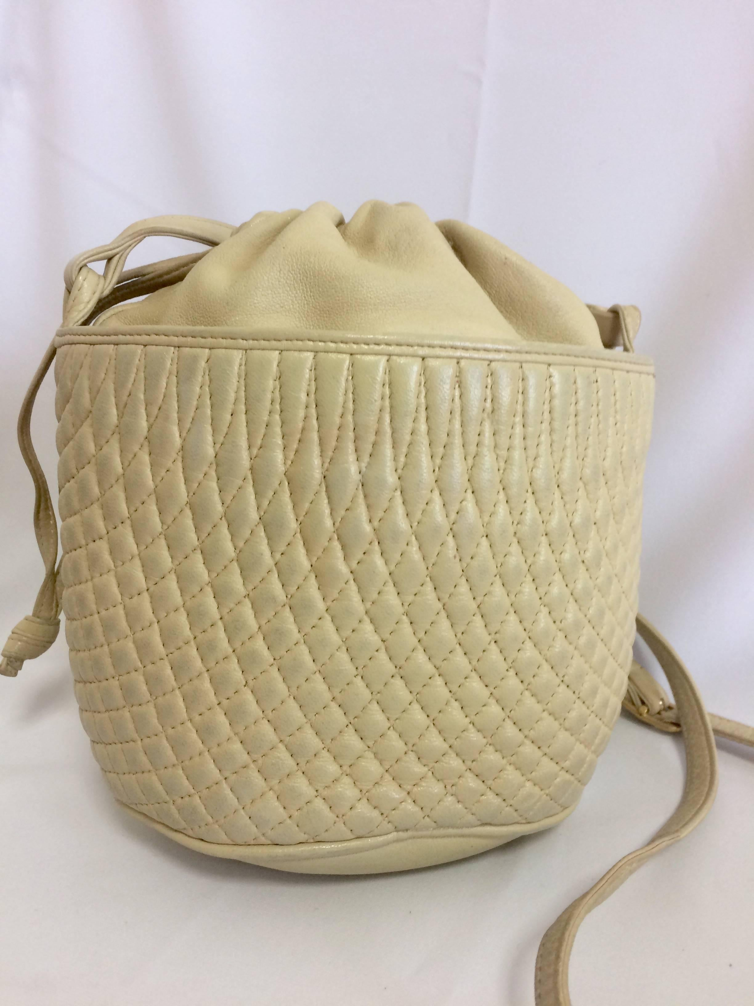 Bally Vintage Bally Ivory White Quilted Lambskin Mini Hobo, Bucket Shoulder Bag