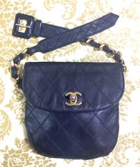 Vintage CHANEL dark navy leather waist purse, fanny pack with golden chain belt.