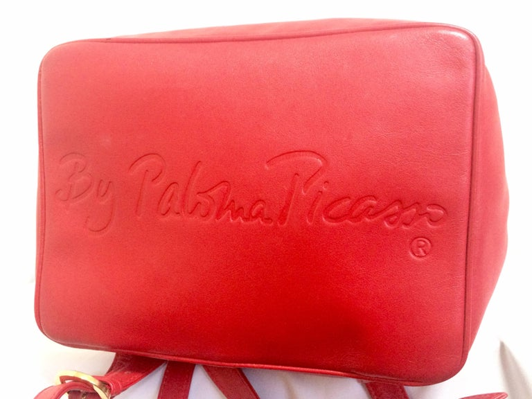 Vintage Paloma Picasso red leather backpack with golden ...